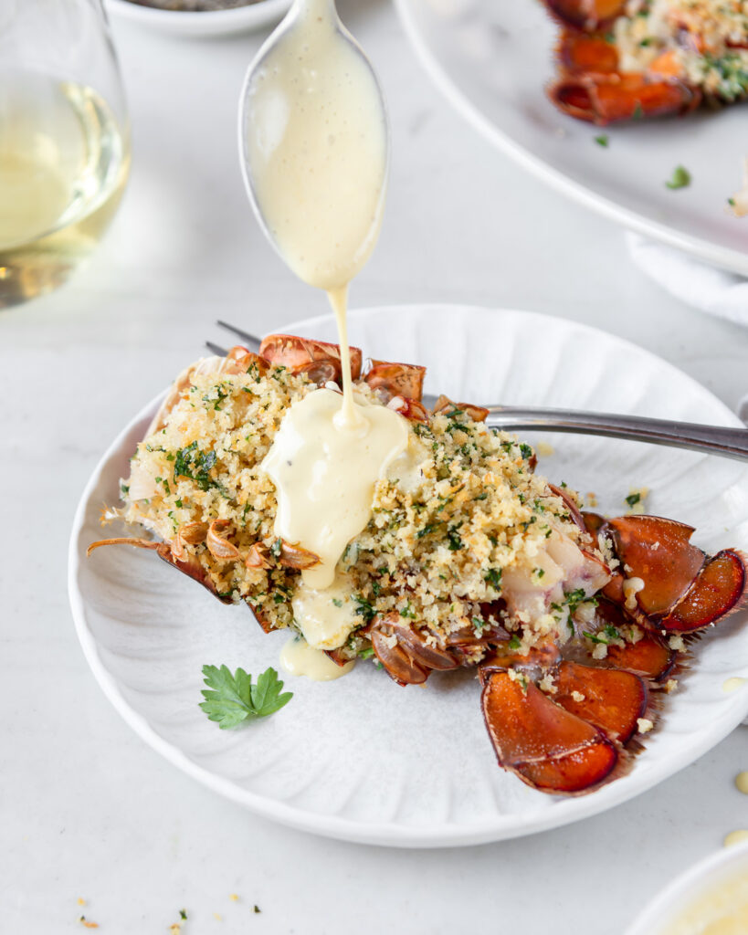 roast lobster tails with brown butter hollandaise