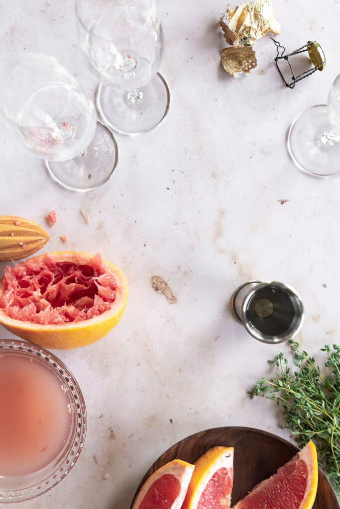 ruby red grapefruit, thyme, champagne flutes, grand marnier