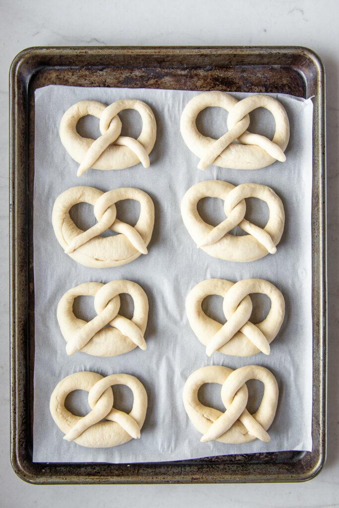 soft, chewy pretzels before lye bath