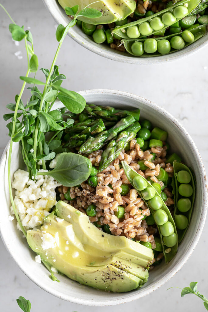 farro bowl with spring peas and asparagus