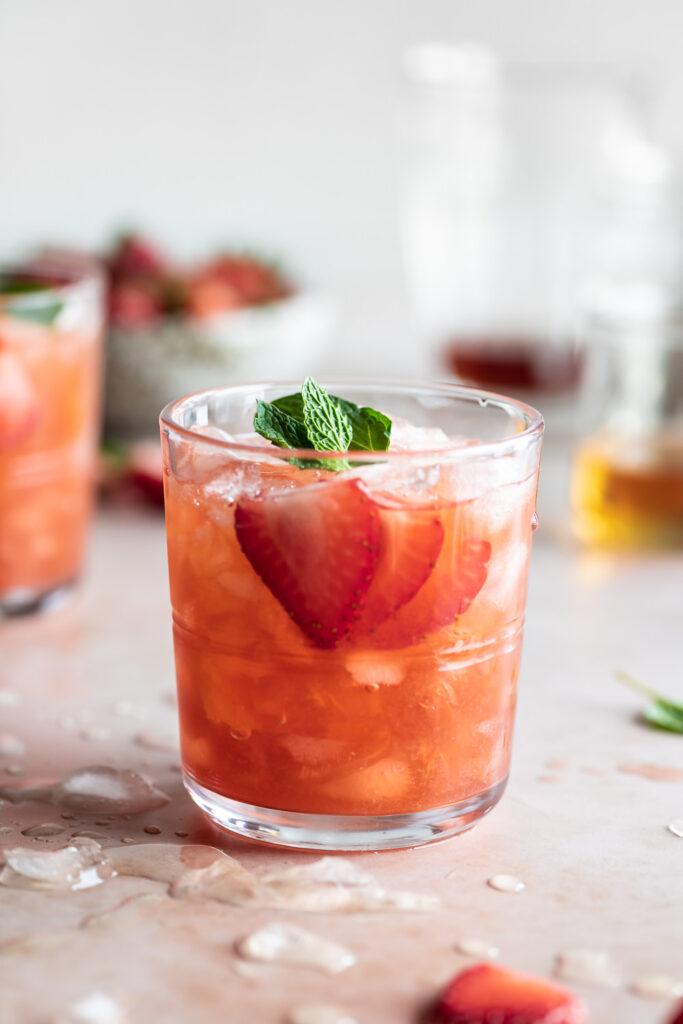 fresh strawberry amaretto smash