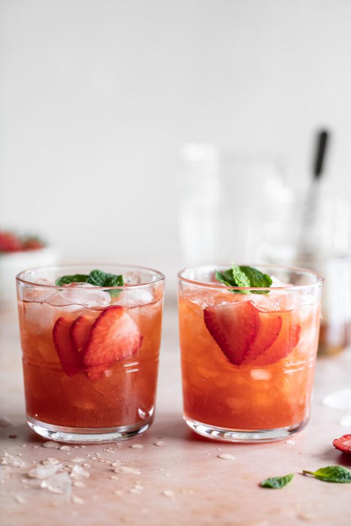 fresh strawberry amaretto smash cocktail
