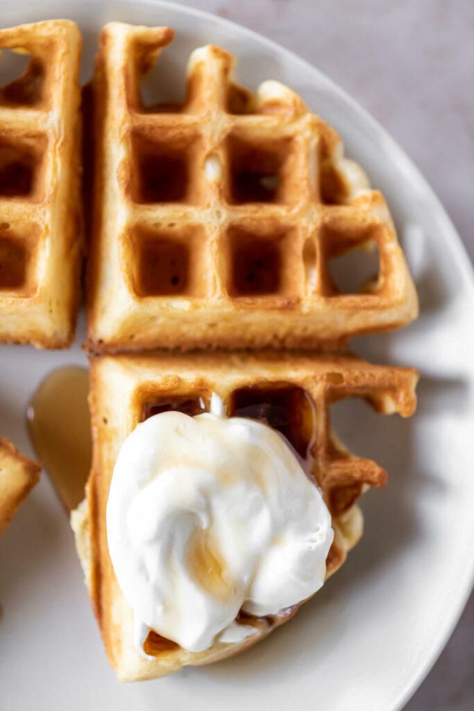 overnight yeasted waffles with whipped maple mascarpone