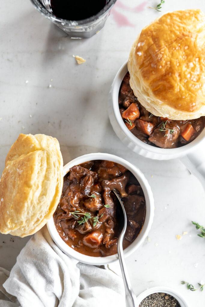 red wine braised beef and mushroom pie