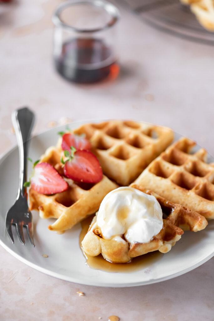 yeasted waffle recipe with whipped maple mascarpone