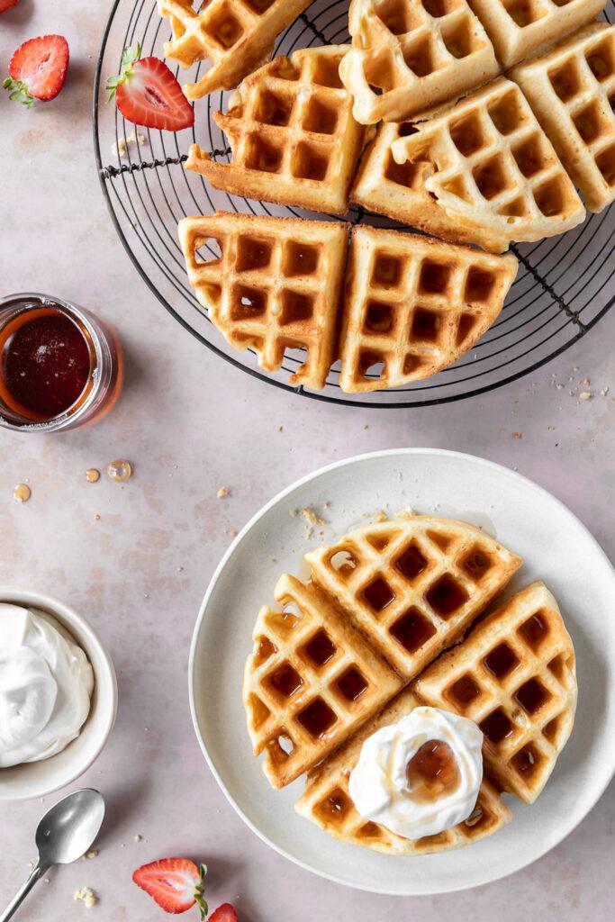 yeasted waffles with whipped maple mascarpone