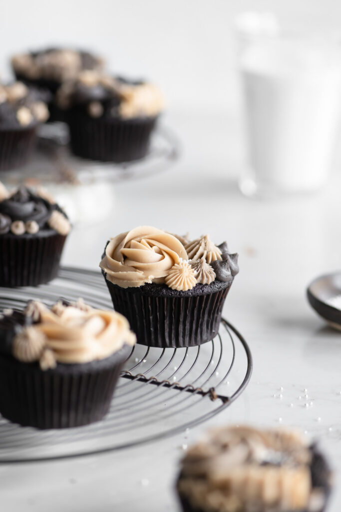 chocolate guinness cupcakes with ganache filling and espresso buttercream