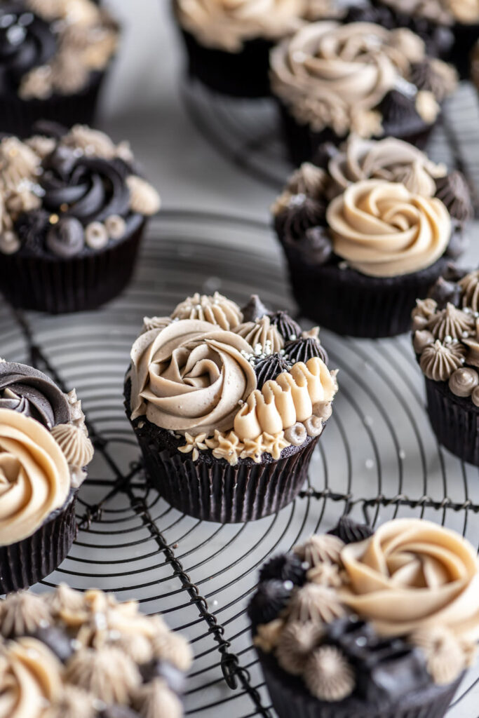 ganache stuffed chocolate guinness cupcake recipe with espresso buttercream