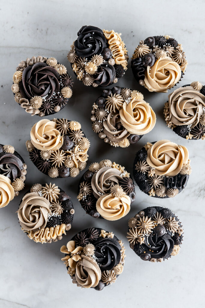 ganache stuffed chocolate guinness cupcakes with espresso buttercream