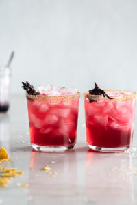 hibiscus margarita with ginger sugar rim