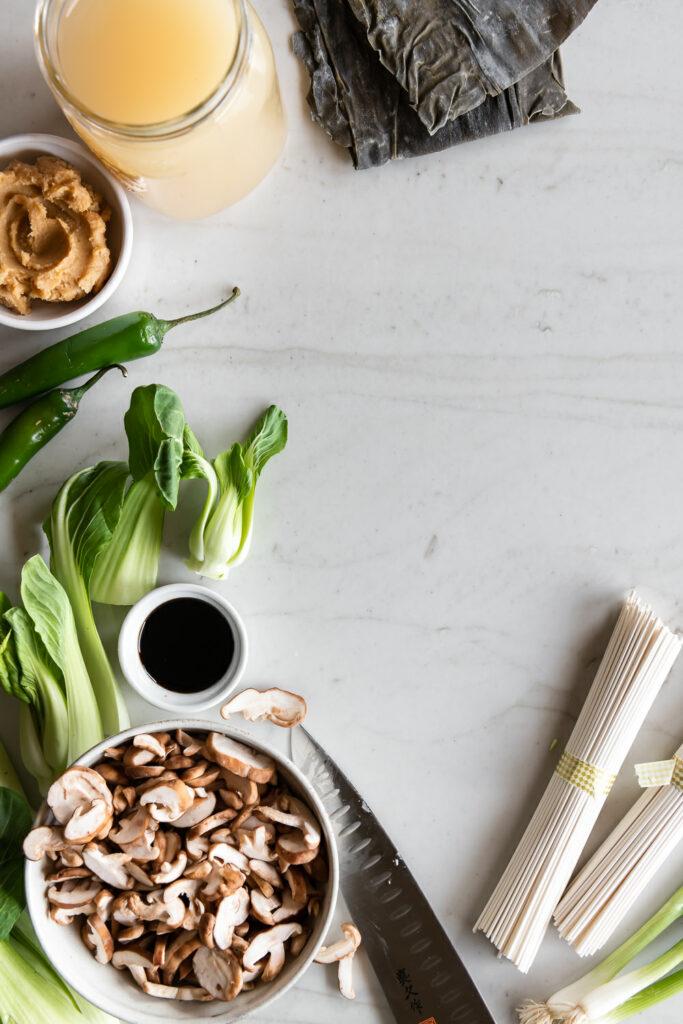 udon noodles, miso, mushrooms, bok choy, soy sauce, kombu