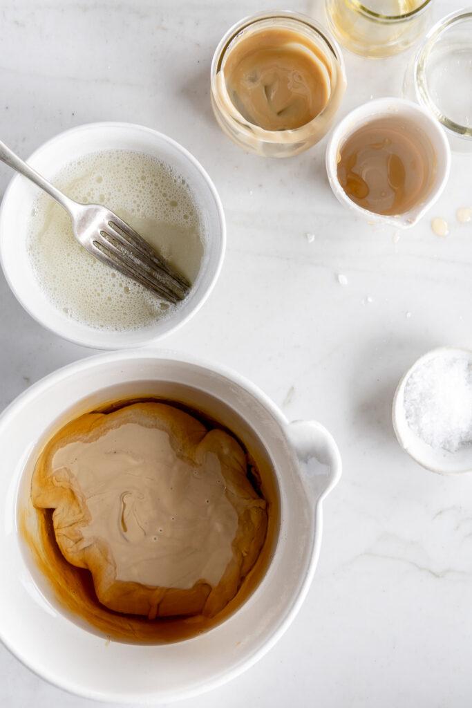combine tahini, honey, egg white, sesame oil and coconut oil