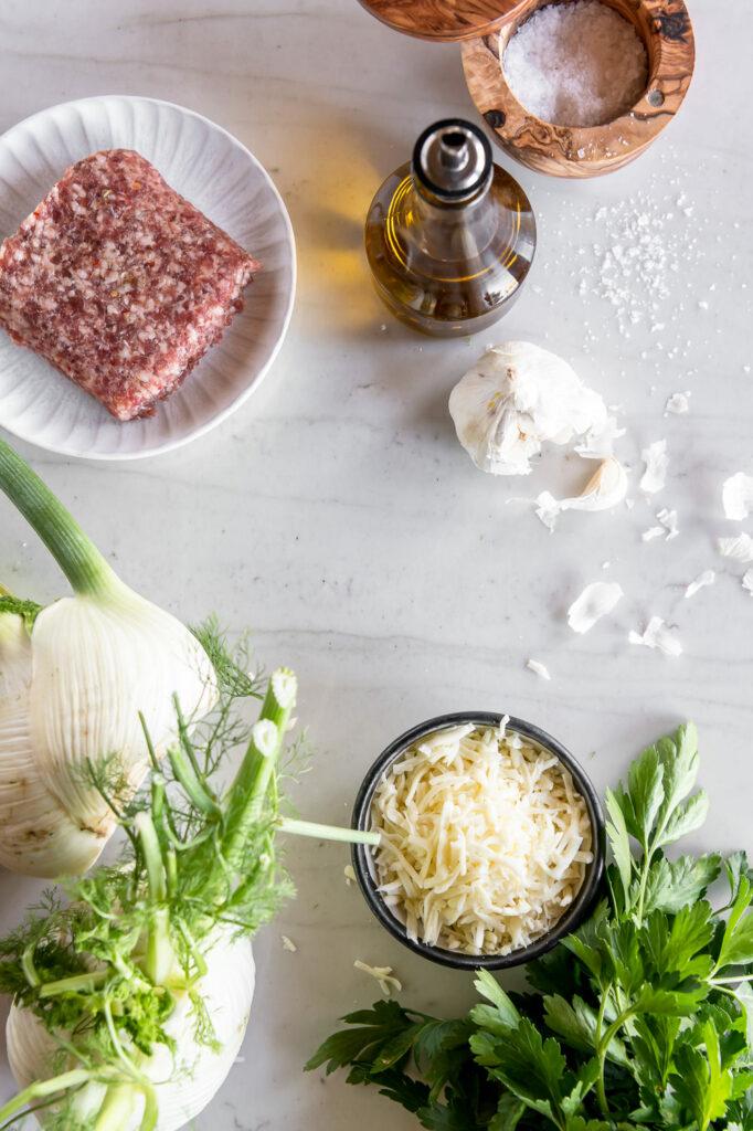 fennel, sausage, mozzarella, olive oil, garlic