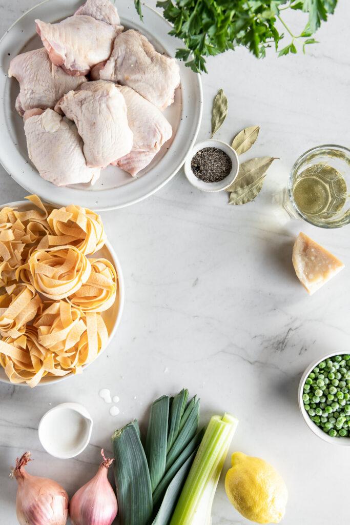 pappardelle pasta, chicken thighs, lemon, cream, leeks, shallots, celery