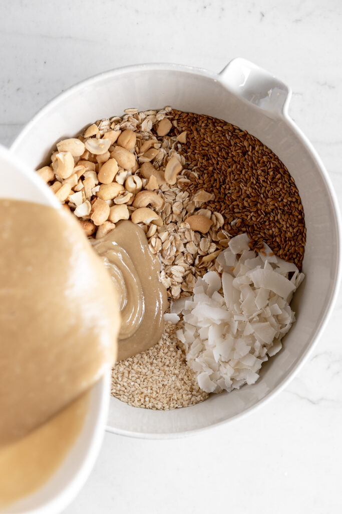 pour tahini mixture over oats