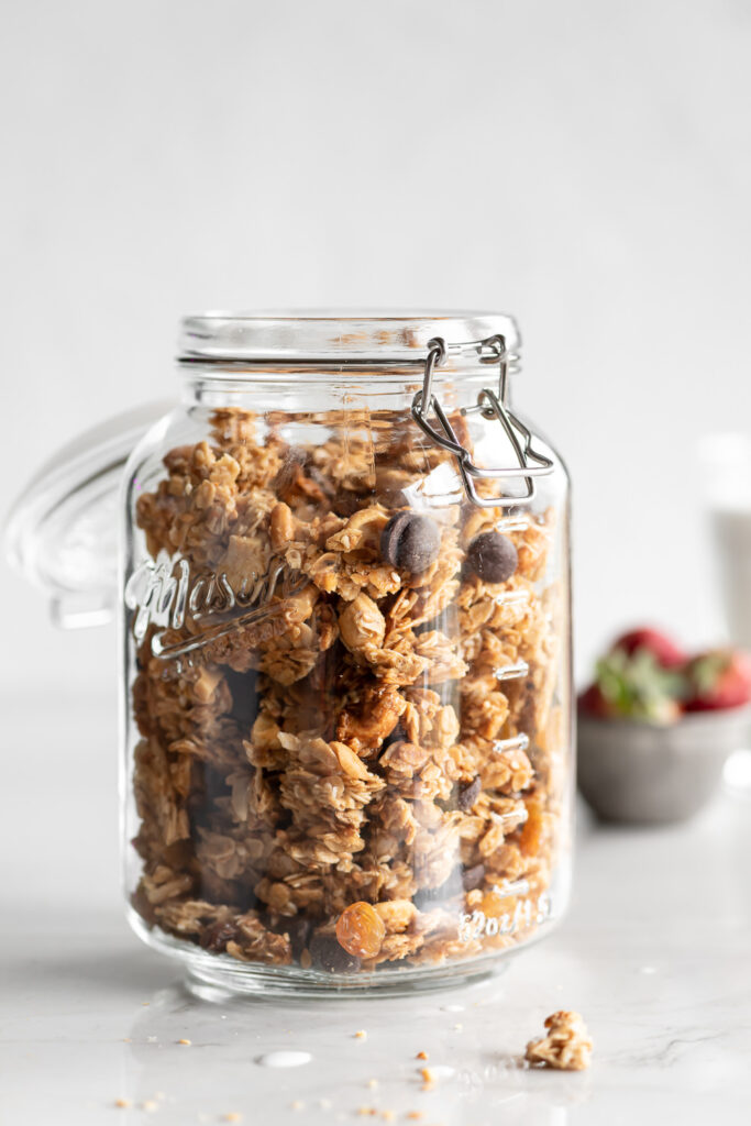 sesame tahini granola clusters with golden raisins and dark chocolate