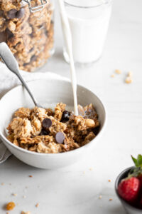 tahini granola clusters with golden raisins and dark chocolate