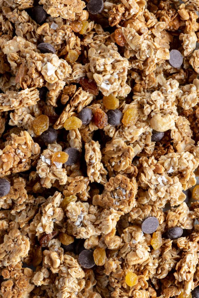tahini granola with golden raisins and dark chocolate