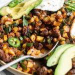 chorizo potato hash recipe with poblanos and roasted jalapeno hollandaise