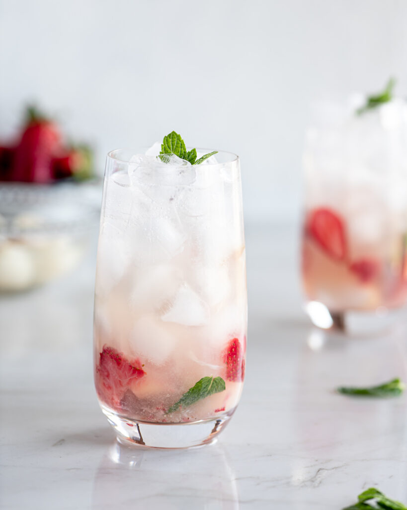 lychee mojito recipe with strawberries and rose water