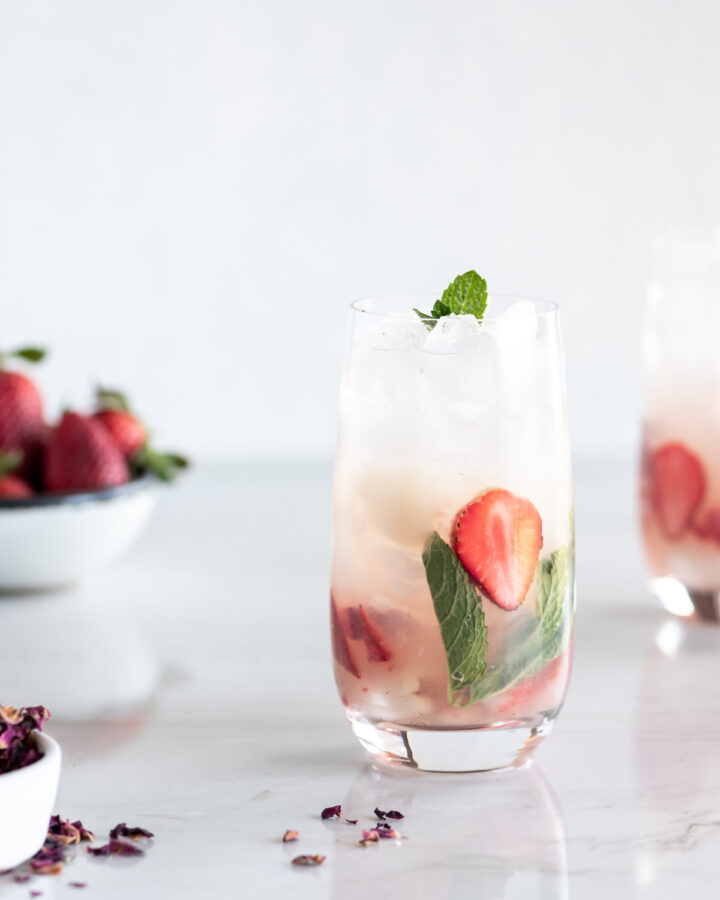 lychee mojito with strawberries and rose