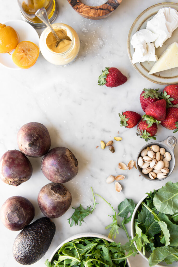 beets, goat cheese, arugula, baby kale, strawberries, dijon, pistatachios, preserved lemons, manchego