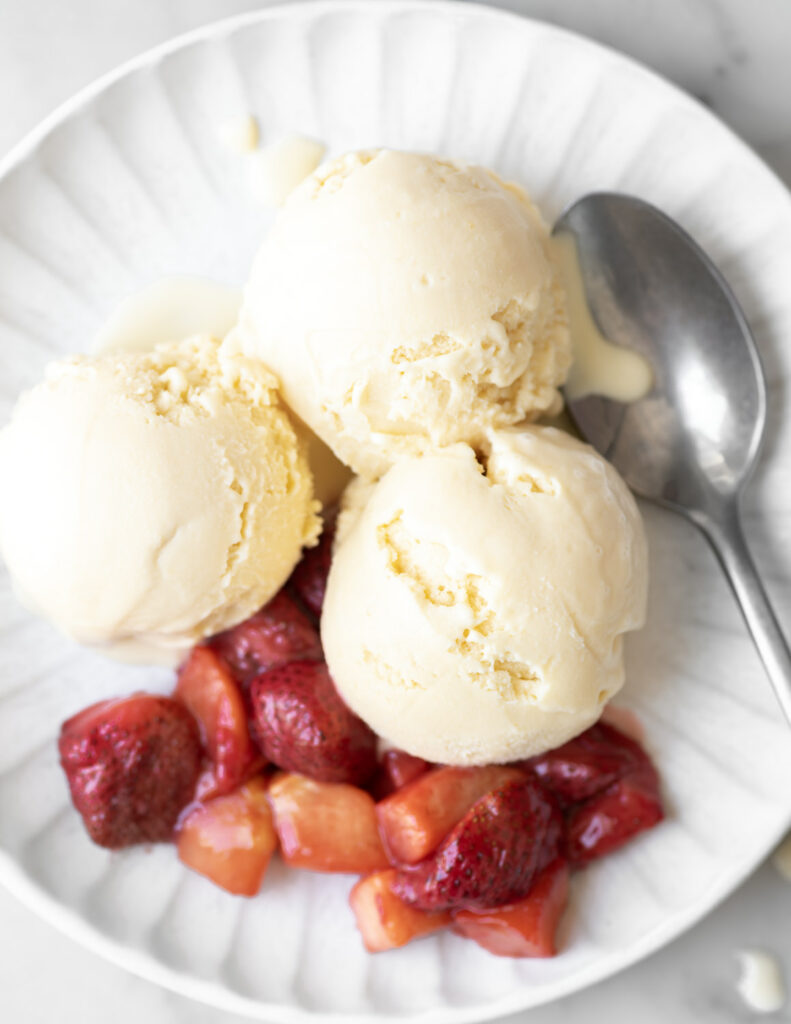 buttermilk ice cream with roasted strawberry and peach topping