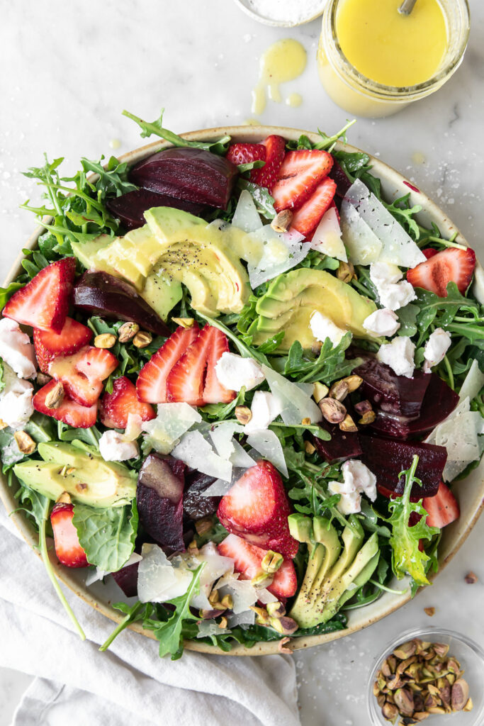 roasted beet salad with goat cheese and strawberries
