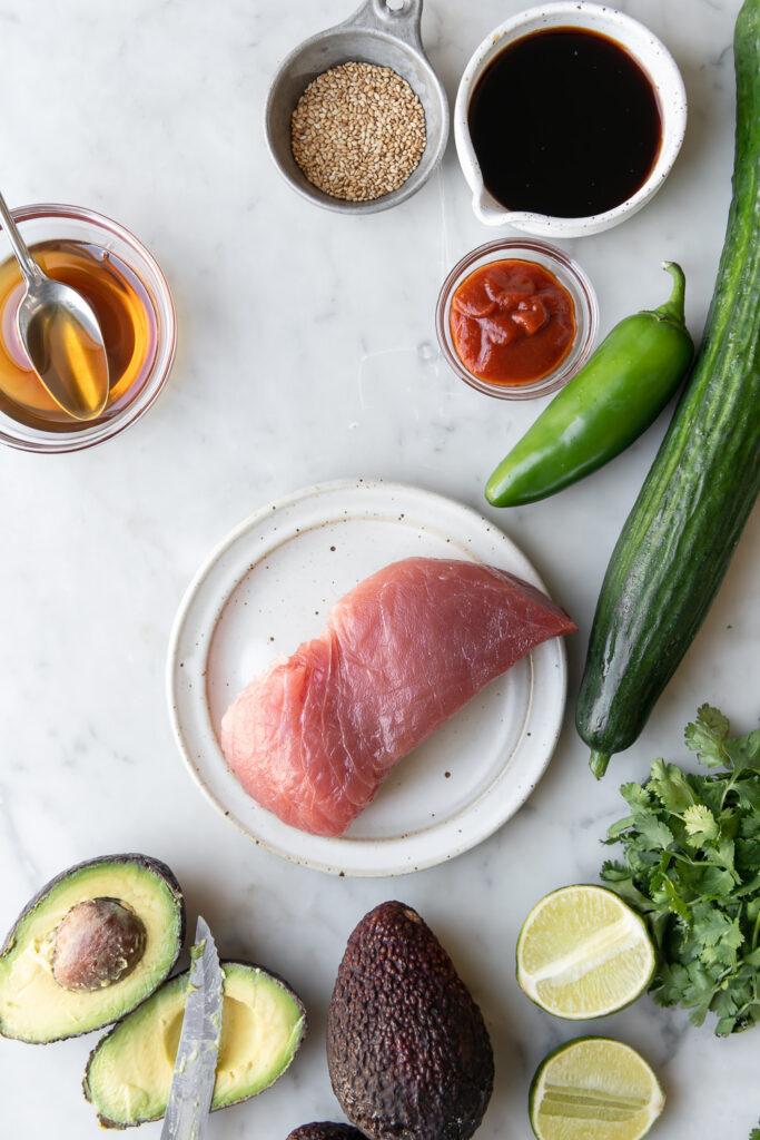 ahi tuna, cucumber, jalapeno, avocado, cilantro, soy sauce, sriracha, toasted sesame oil