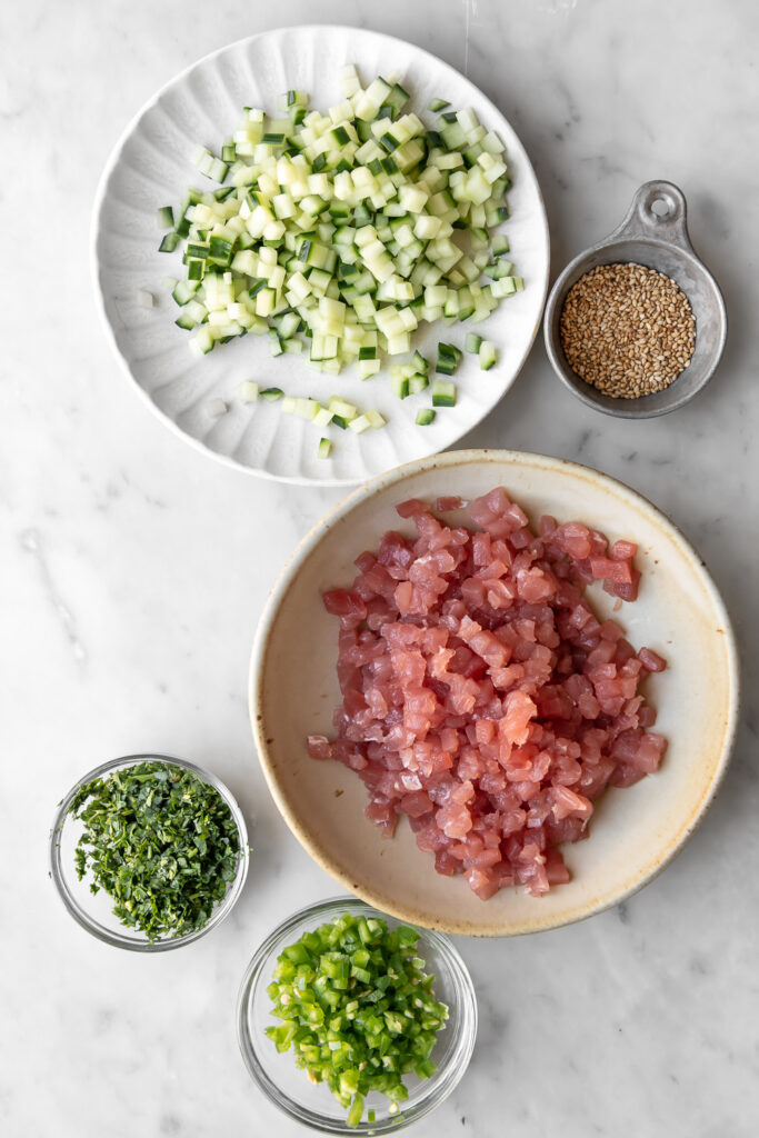 diced ahi tuna, cucumber, cilantro and jalapeno