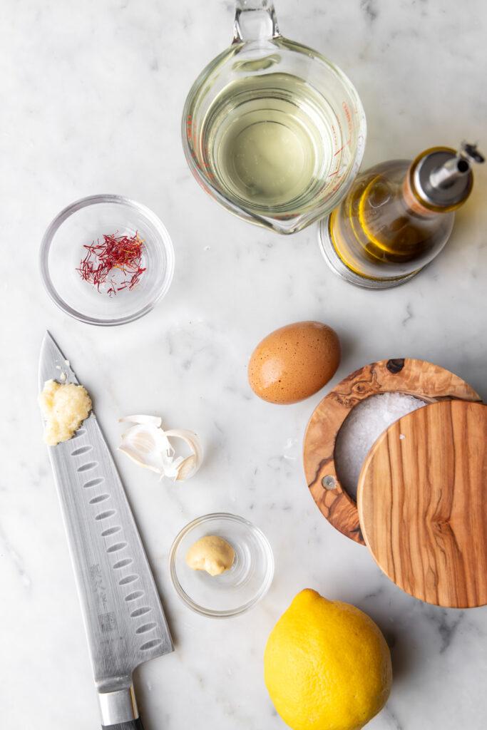 saffron-egg-canola-oil-olive-oil-garlic-mustard-lemon-salt