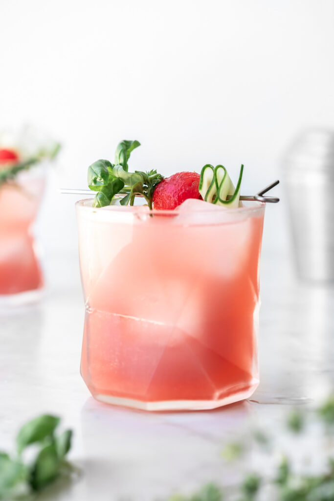 watermelon cocktail with vodka, cucumber and basil