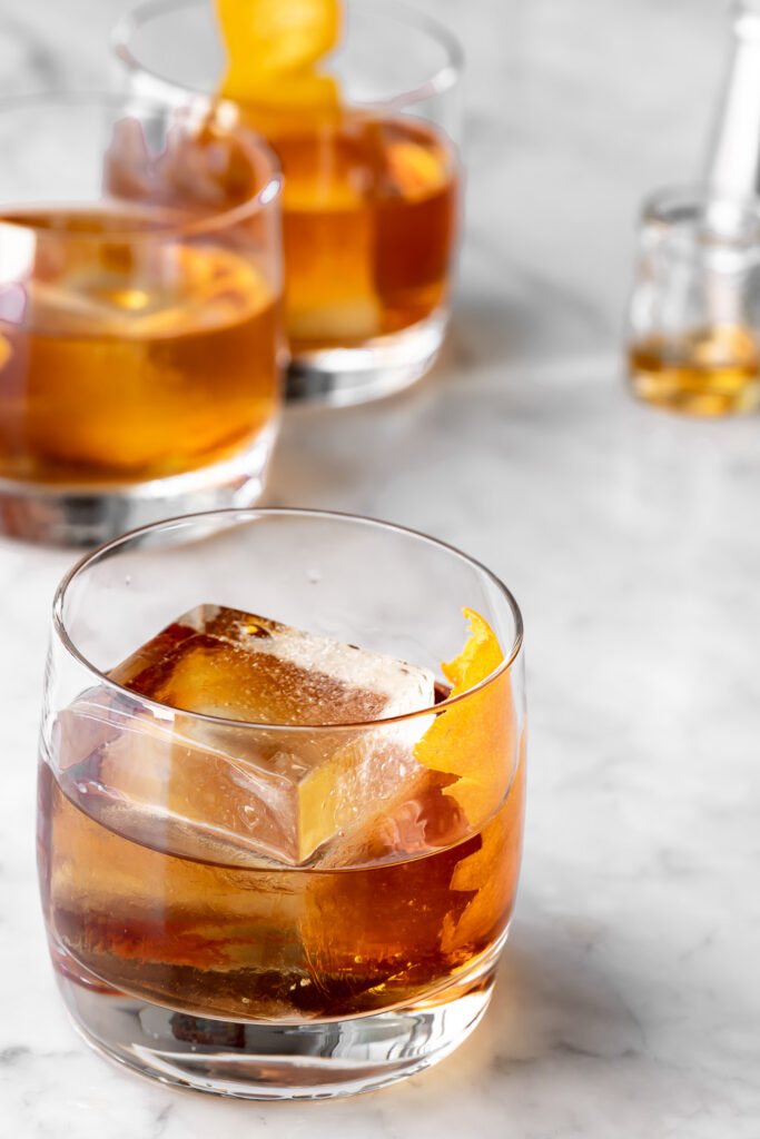 bourbon old fashioned with maple syrup