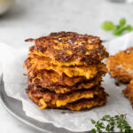 butternut squash patties with thyme and leeks