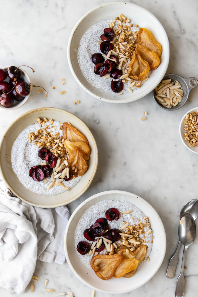 chia bowl with cherries, maple and dried pears