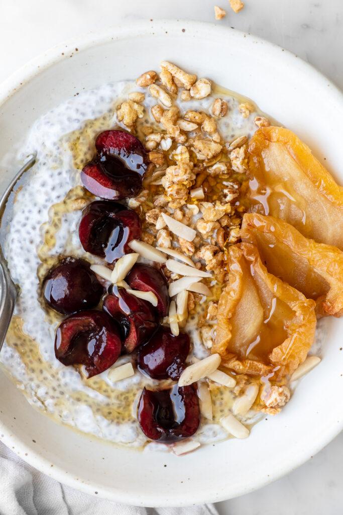 chia seed pudding with yogurt and cherries