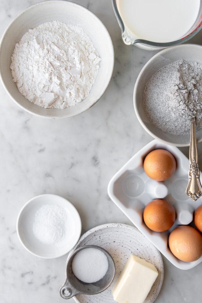 flour, buckwheat flour, eggs, milk, butter, salt, sugar