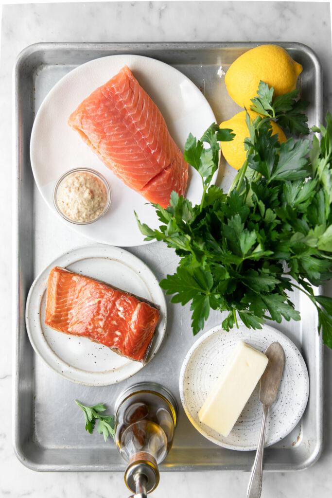 fresh salmon, smoked salmon, herbs, lemon, butter, mustard, olive oil