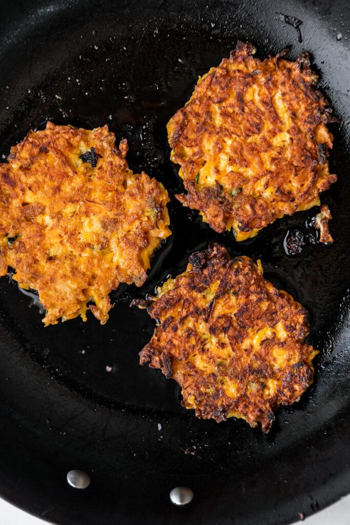 frying butternut squash fritters