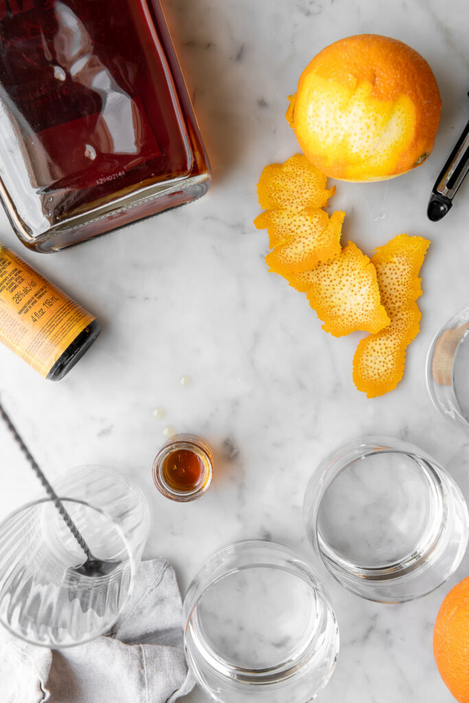 maple syrup, bourbon, orange zest, orange bitters