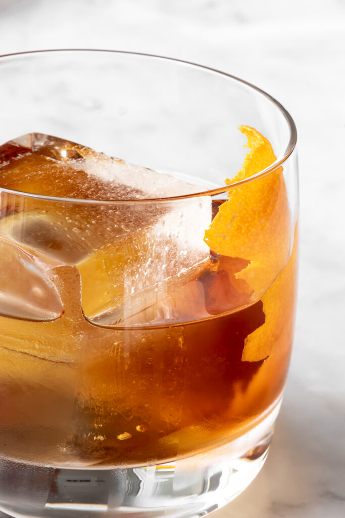 maple syrup old fashioned with bourbon whiskey