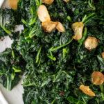 sautéed kale with fried garlic chips