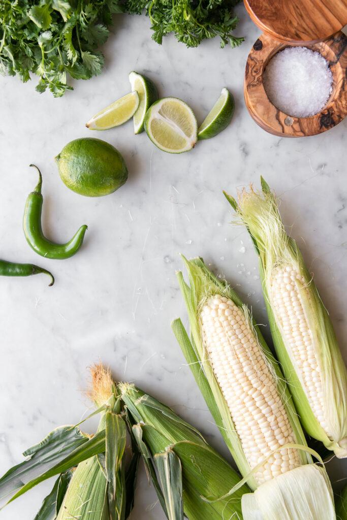 sweet corn, serrano pepper, lime, salt, cilantro, parsley
