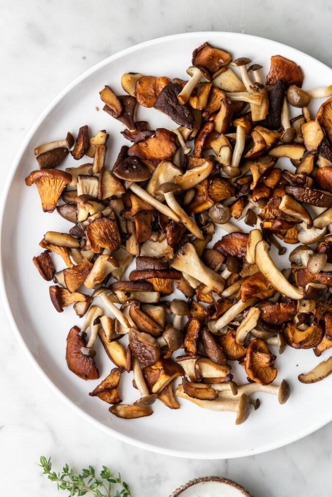 crispy buttery wild mushrooms