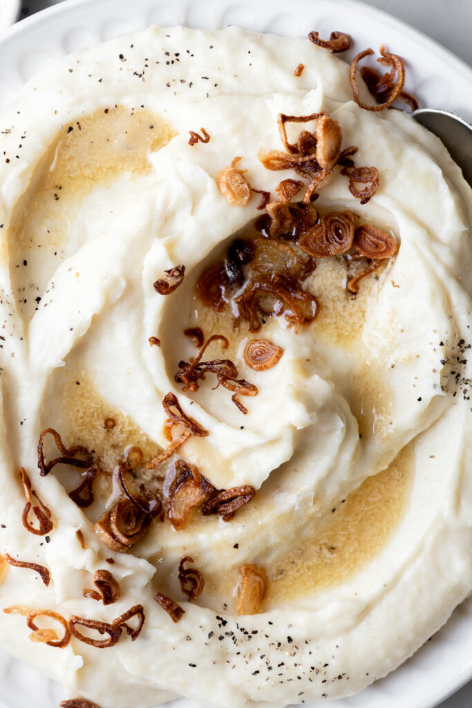 parsnip puree with brown butter dijon and fried shallots