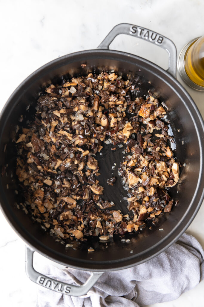 sauteed shallots and rehydrated mushrooms