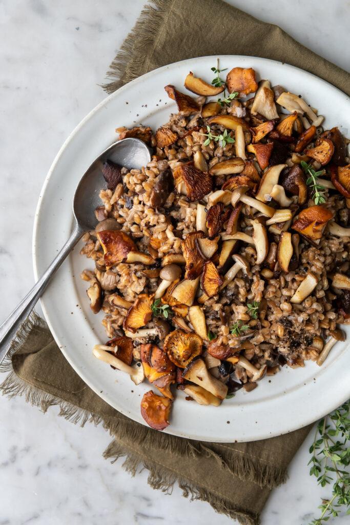 wild mushroom farro risotto recipe